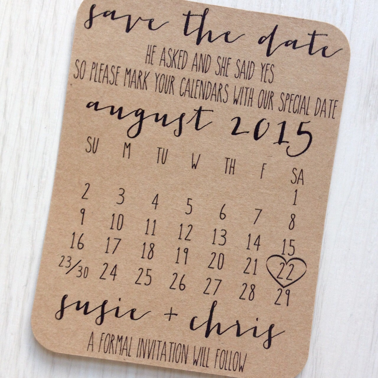 Save the date card  Rustic calendar save the date  Kraft save the date
