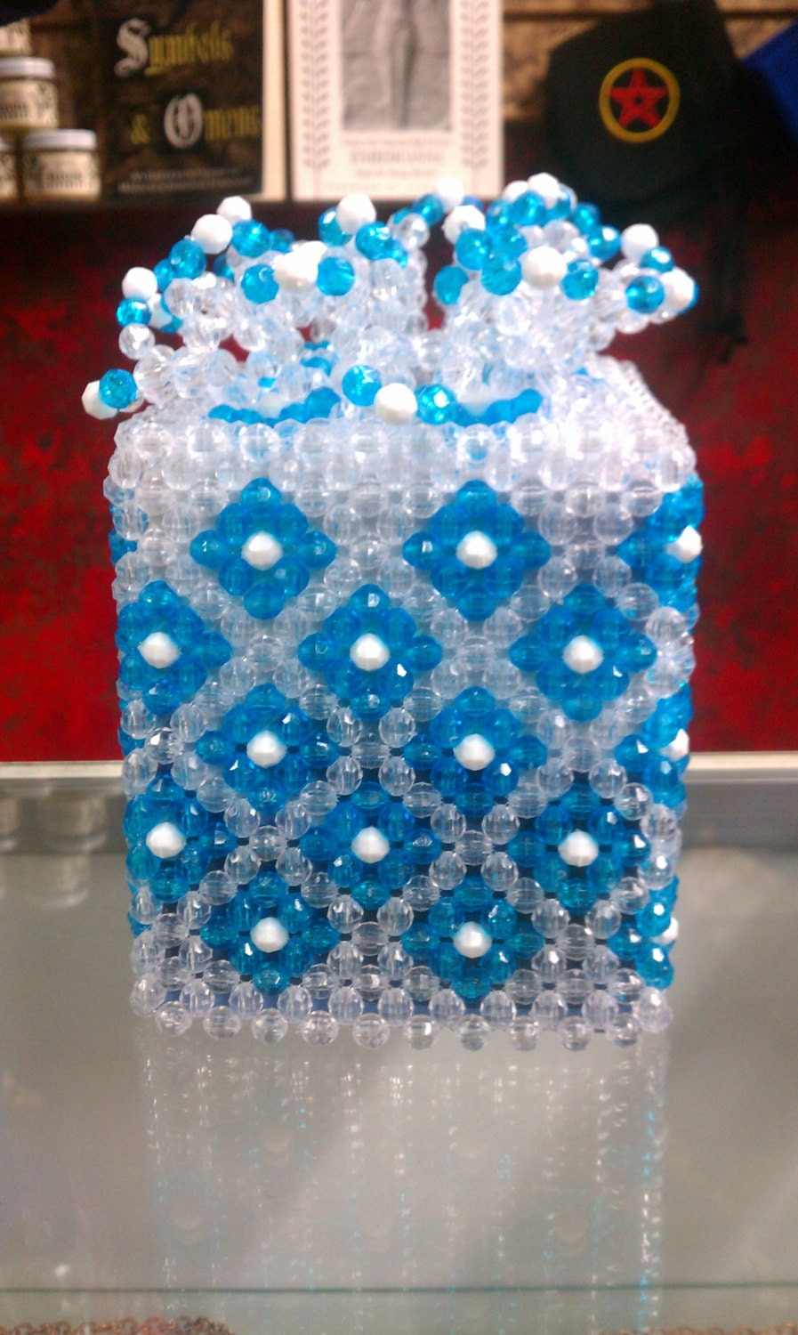 items similar to white and blue beaded tissue box cover on