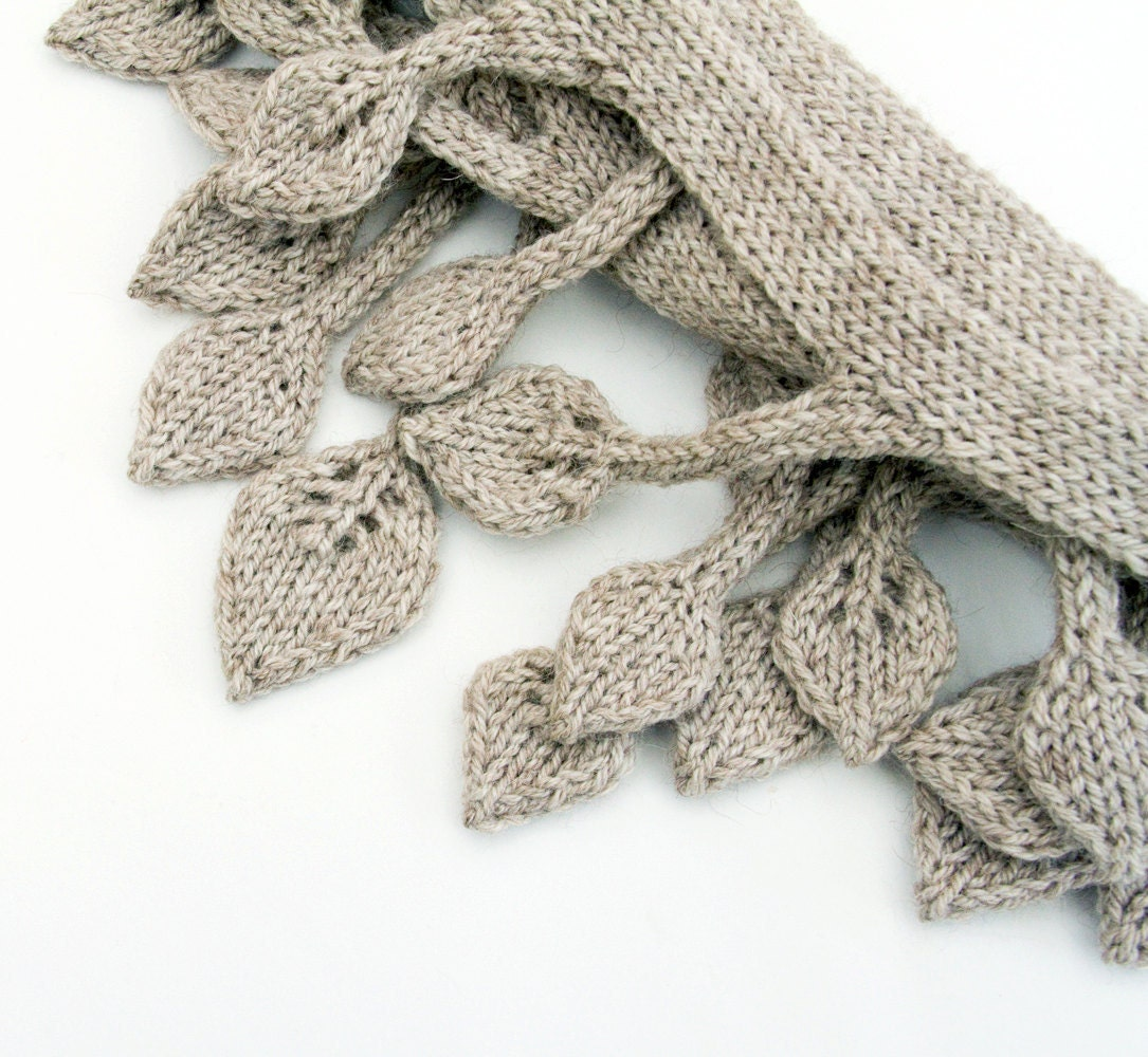 Knit Scarf gray extra long narrow tree branch, knit leaf leaves double sided romantic knitwear - LeafyDesign