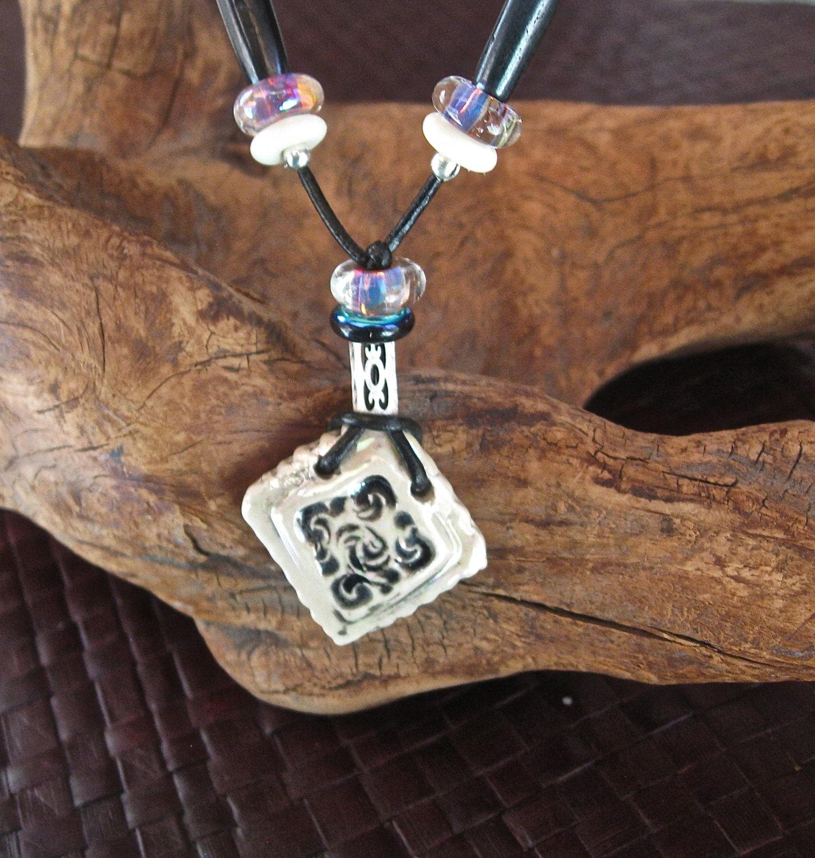 Lustre Diamond Pendant with Beads - RGClayDesign
