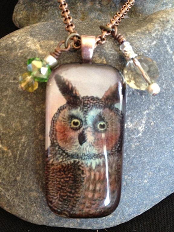 Big Eared Owl glass tile pendant necklace
