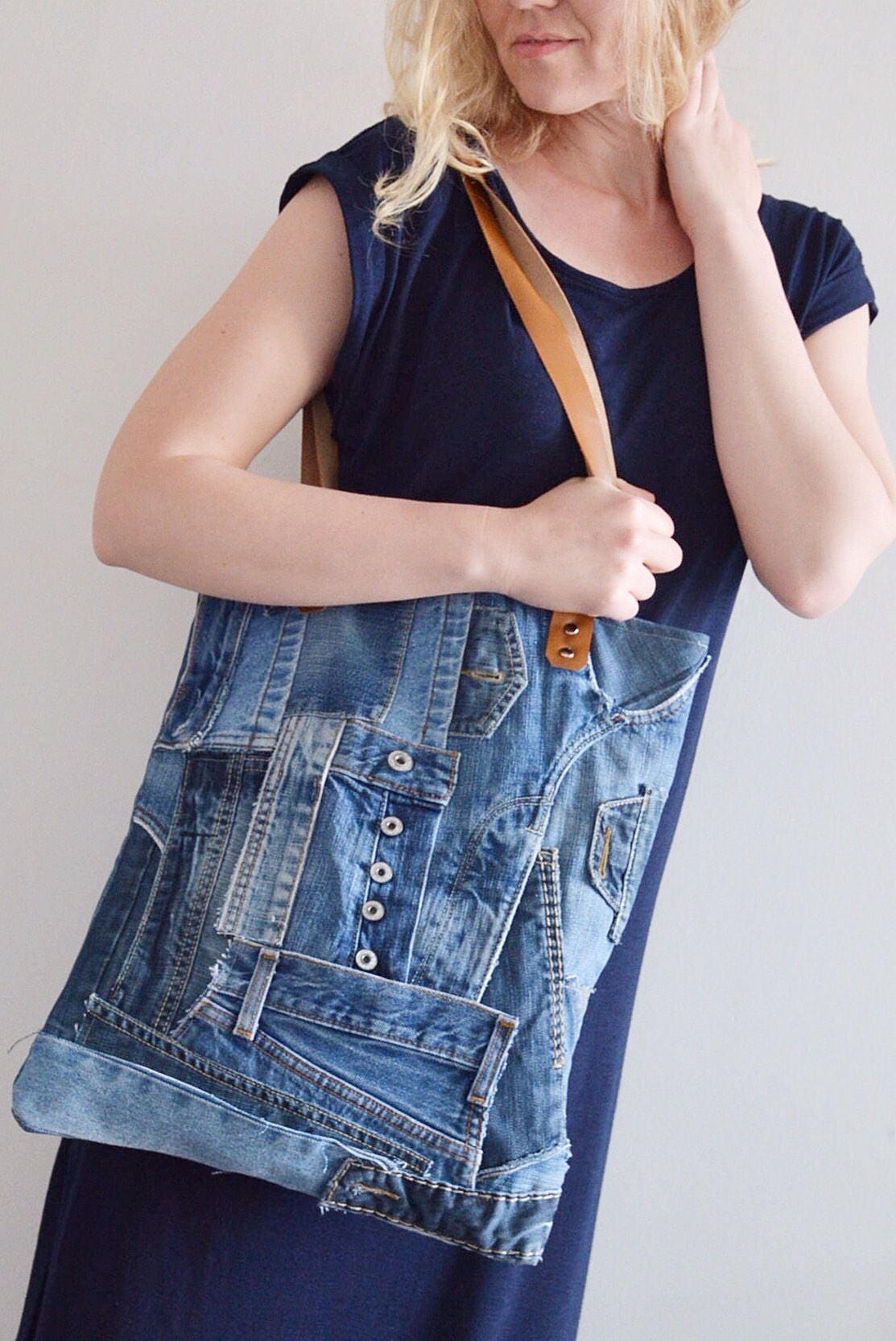 GEOMETRIC denim tote bag with a zipper  yellow lining  recycled denim  upcycled denim bag  casual handbag for women.