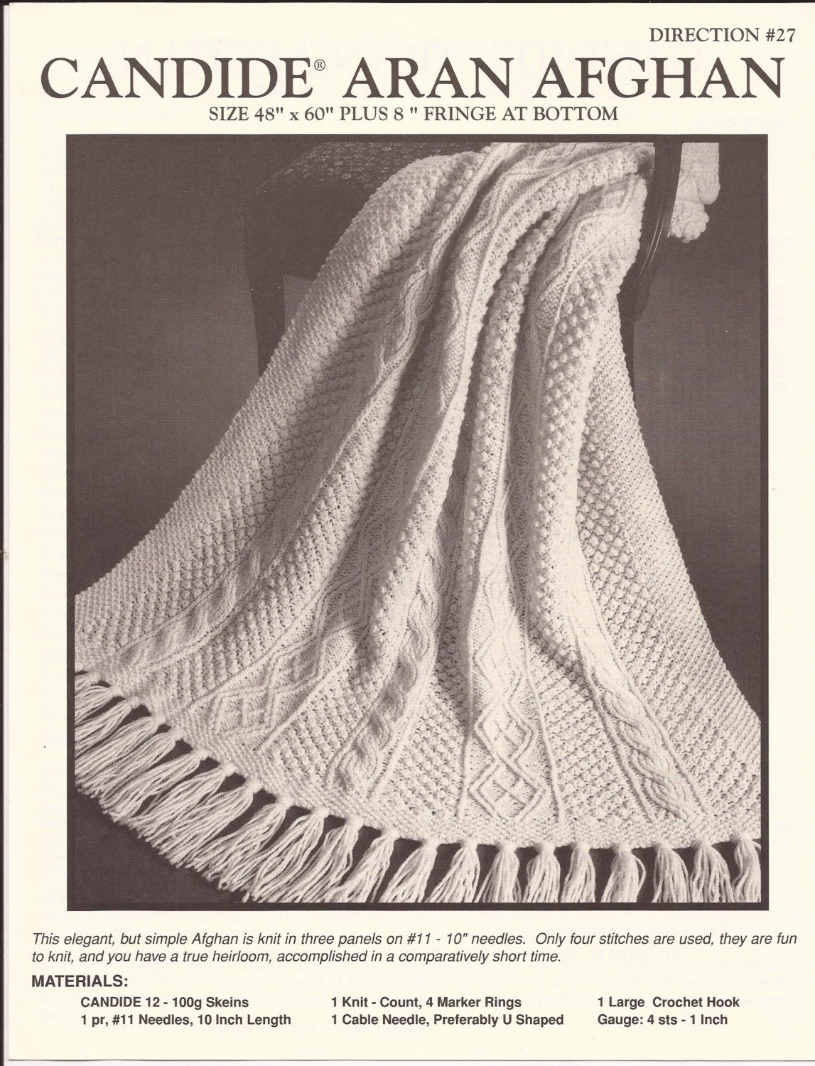 Fisherman Knit Afghan Pattern Free : Popular items for knit blanket pattern on Etsy