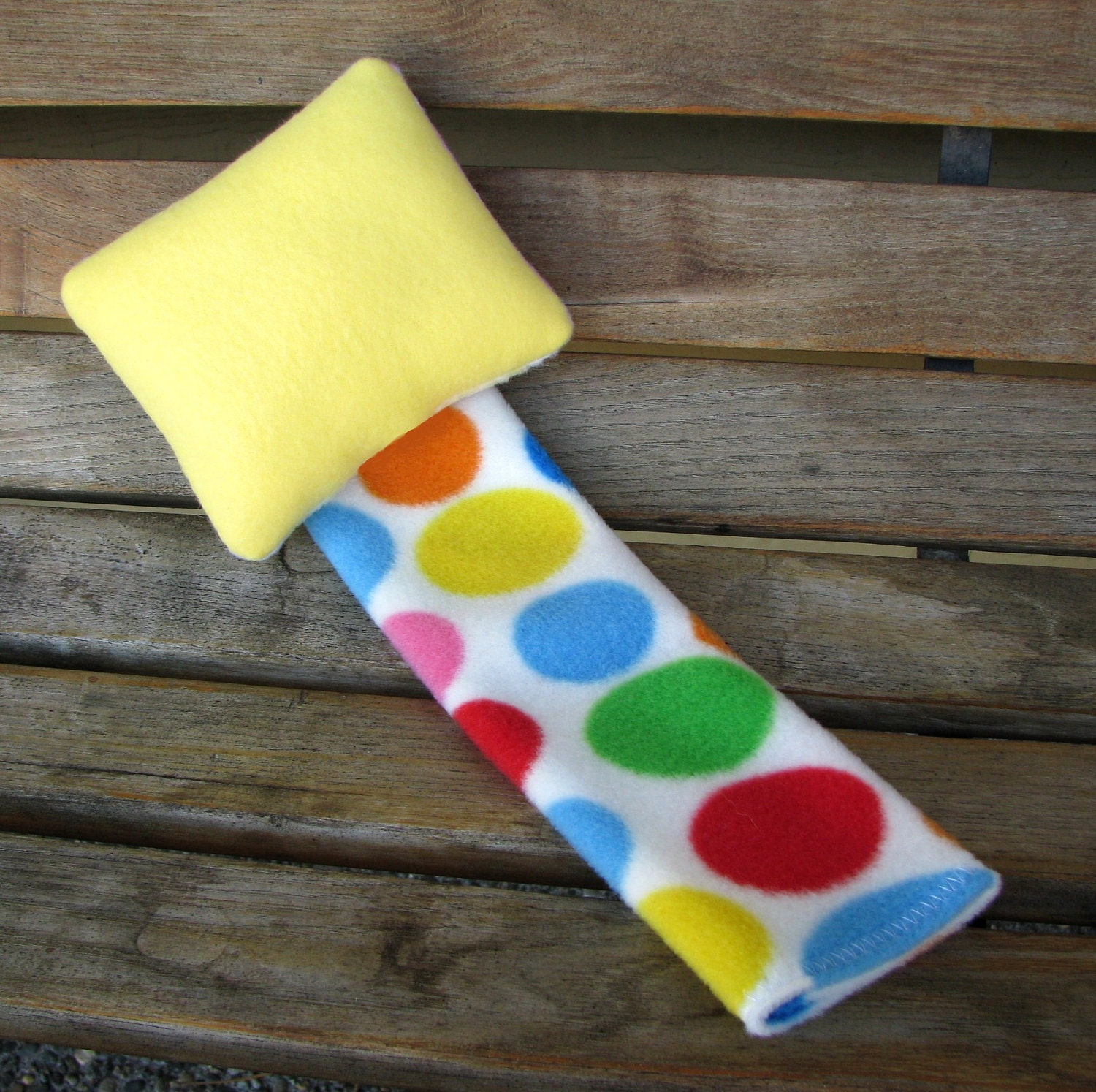 Seatbelt Cover Car Comfort Toddler Child Travel Pillow by SleepyTimez - Yellow and Primary Circles