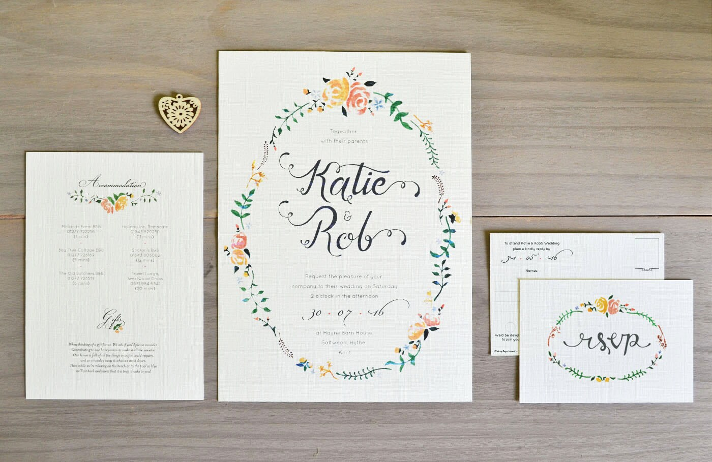 Floral Wedding Invitation in Peach  Rose  sample bundle