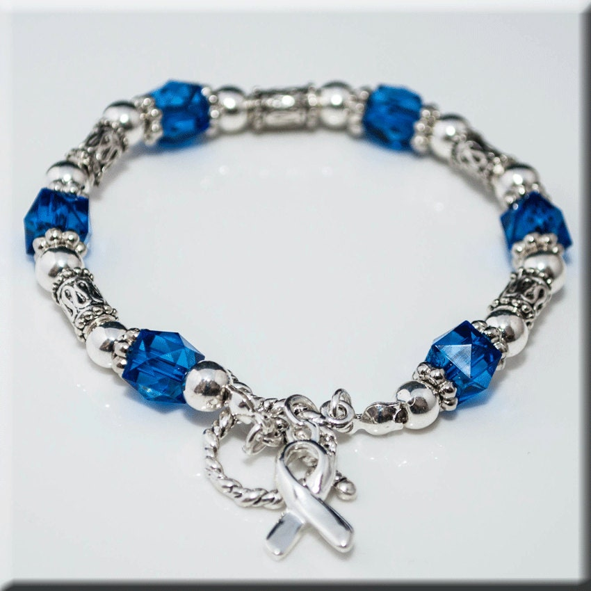 colon cancer beaded stretch bracelet with by