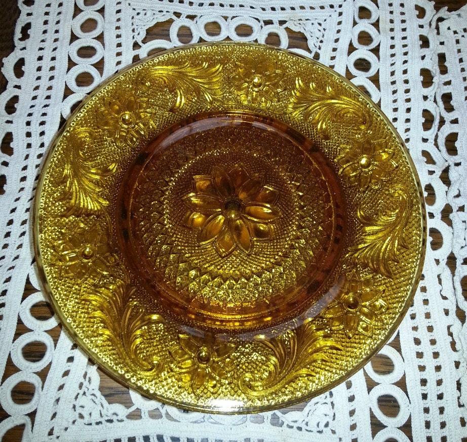 Vintage Tiara amber luncheon plates - ValerysGallery