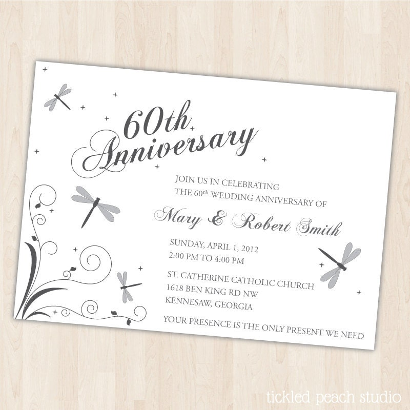 Unavailable listing on etsy for Free printable 60th wedding anniversary invitations