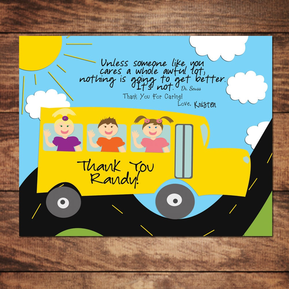 ... Thank You Art For Your Childs School Bus Driver, DIY, Customize on