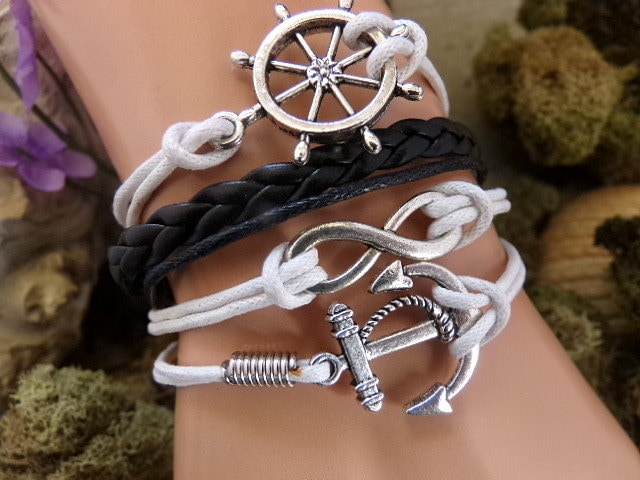 Nautical Anchor Bracelet - Infinity Anchor Black White -- Nautical Wedding, Infinity Rudder Anchor, Sailor Bracelet, Navy Wife Girlfriend - $7.00 USD