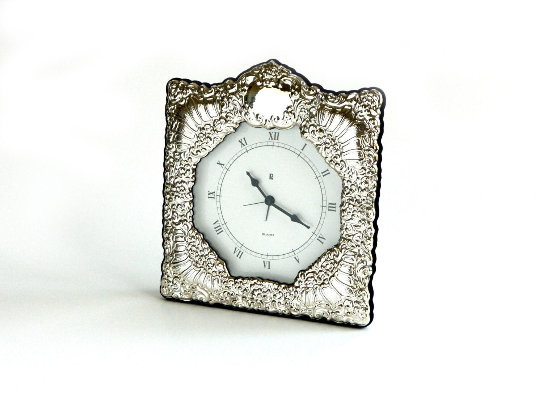 Vintage sterling silver repoussé quartz desk clock alarm blue velveteen flocked back battery opperated desktop accessory tabletop c 1990 - agardenofdreams