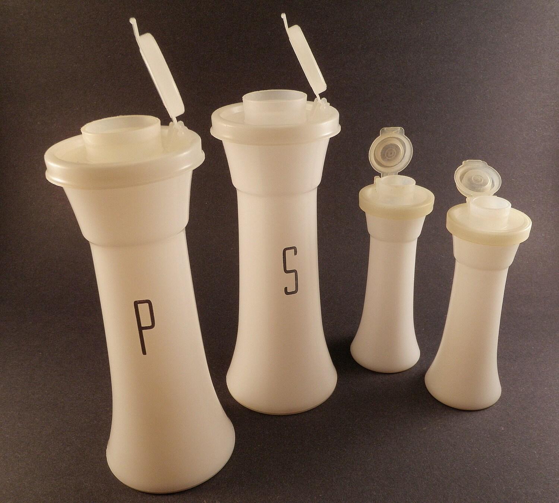 Sale vintage salt pepper shakers tupperware by wildplumtree for Vintage tupperware salt and pepper shakers