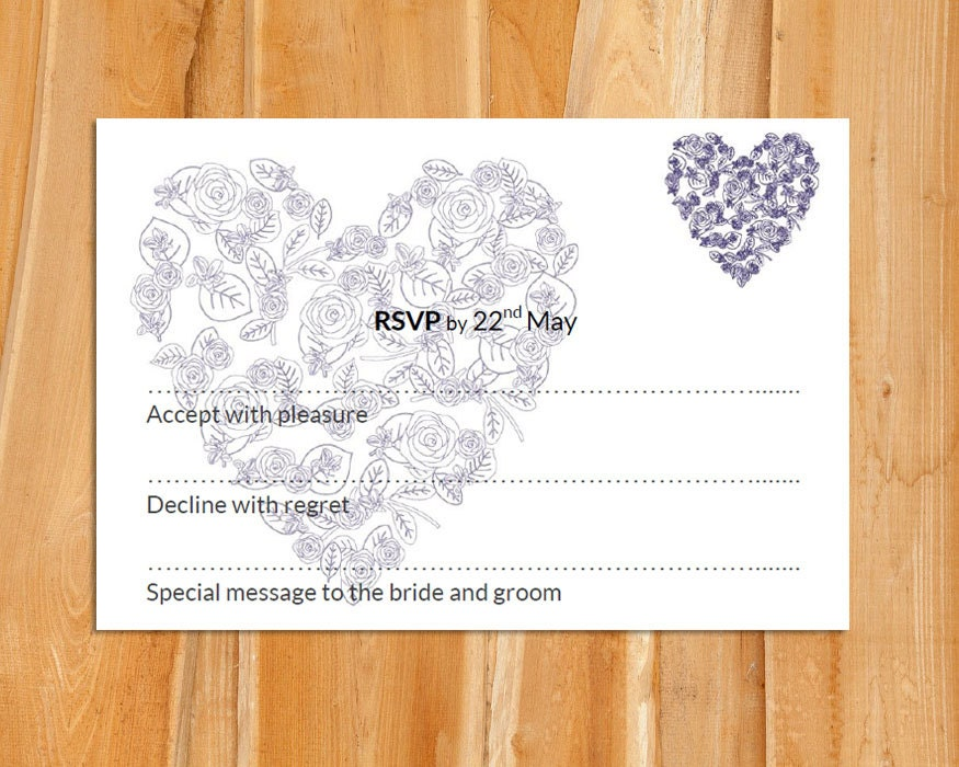 Wedding RSVP template (soft blue heart)  Download PRINTABLE Microsoft word template DIY wedding rsvp rose heart printable rsvp