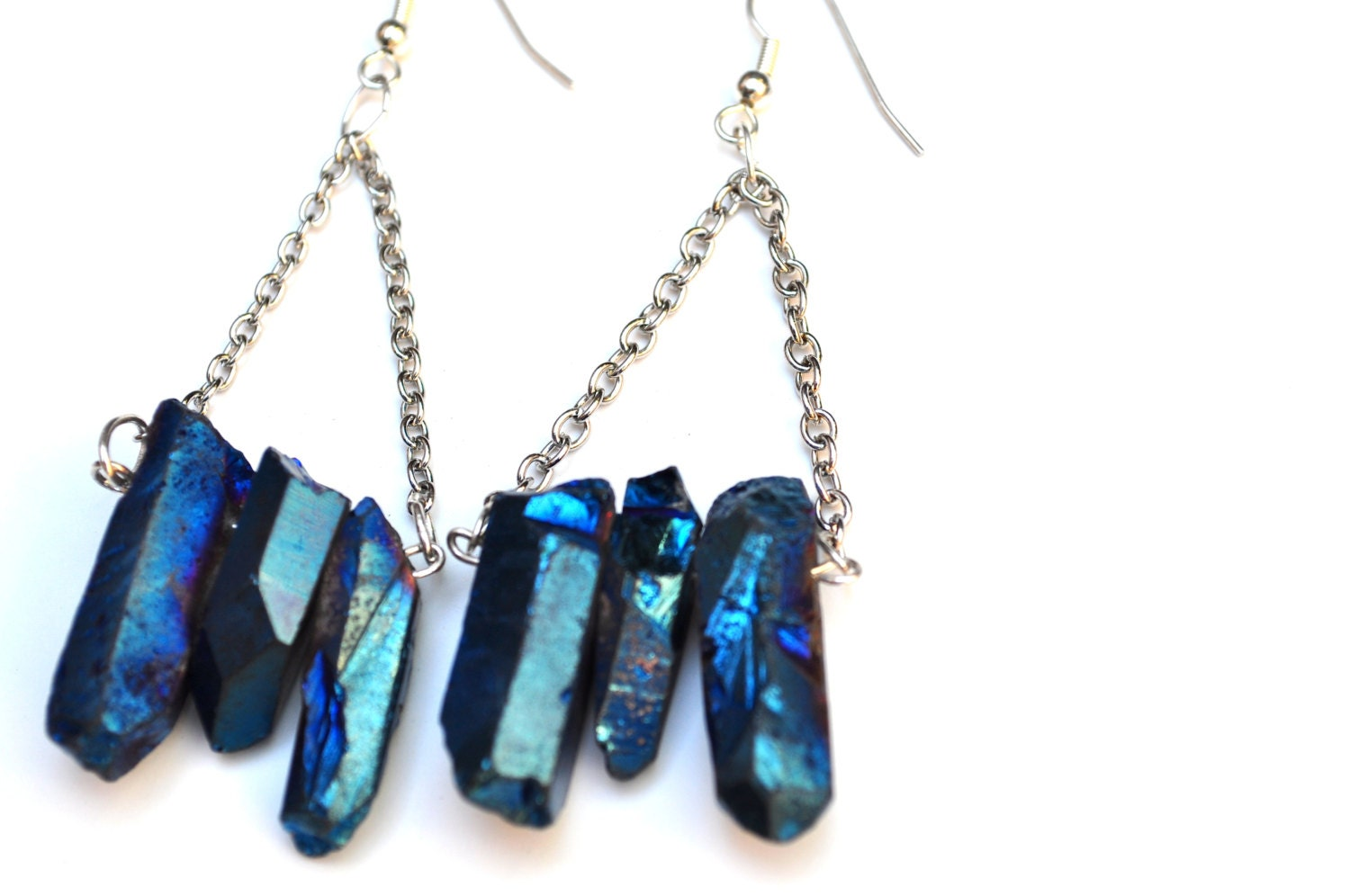 Blue Quartz Trapeze Earrings, Quartz Dangle Earrings - AdamRabbit