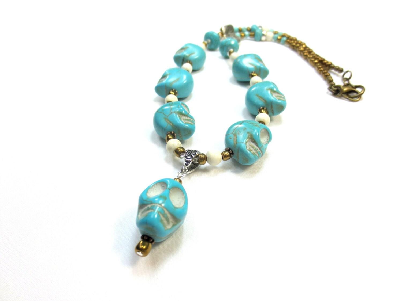 Turquoise Skull Necklace, Día de los Muertos, Gemstone, Bronze, Glass Beads, River Rock, Etched Silver, Howlite, Groovy, Unisex, SRAJD - CindyBurkeOriginals