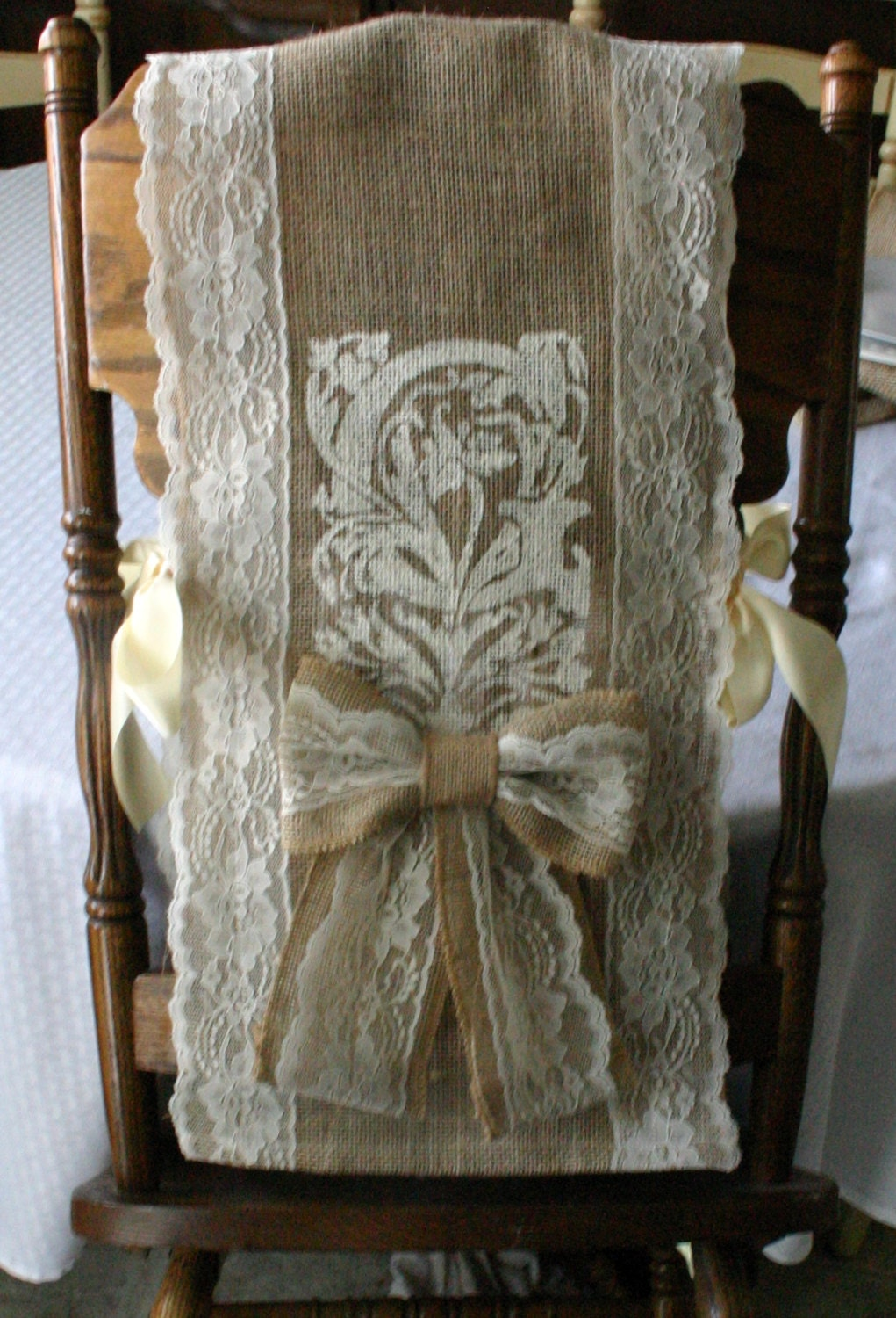 items similar to two bride and groom burlap chair cover