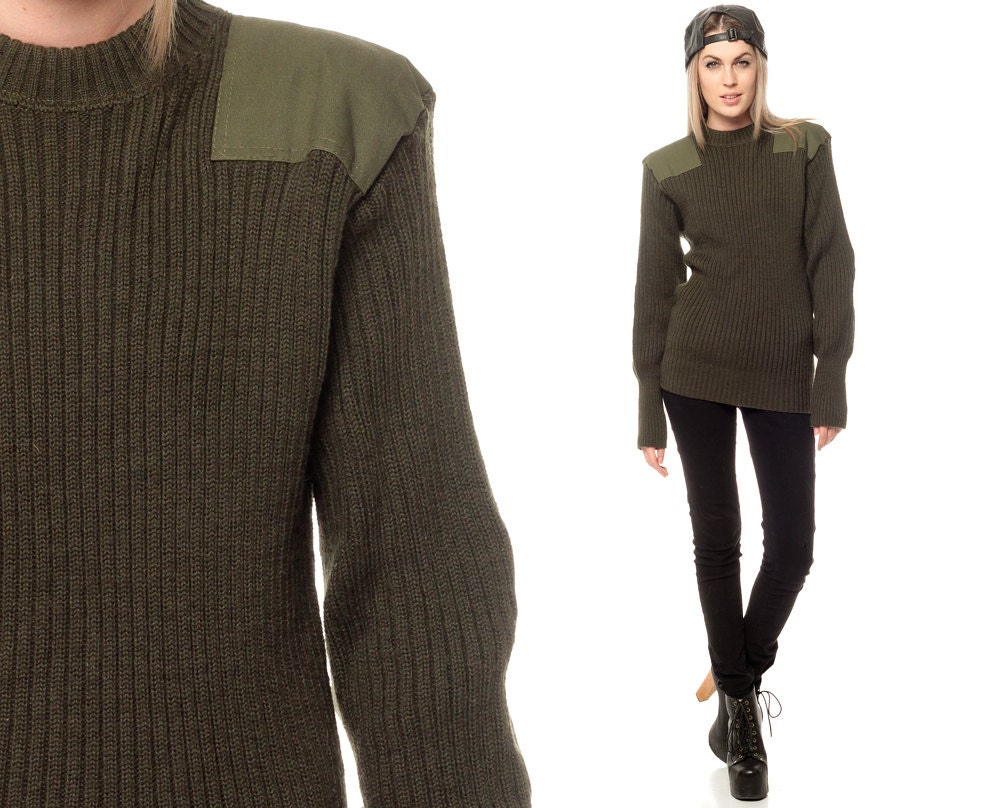 Military sweater 70s cable knit wool sweater camo olive drab green
