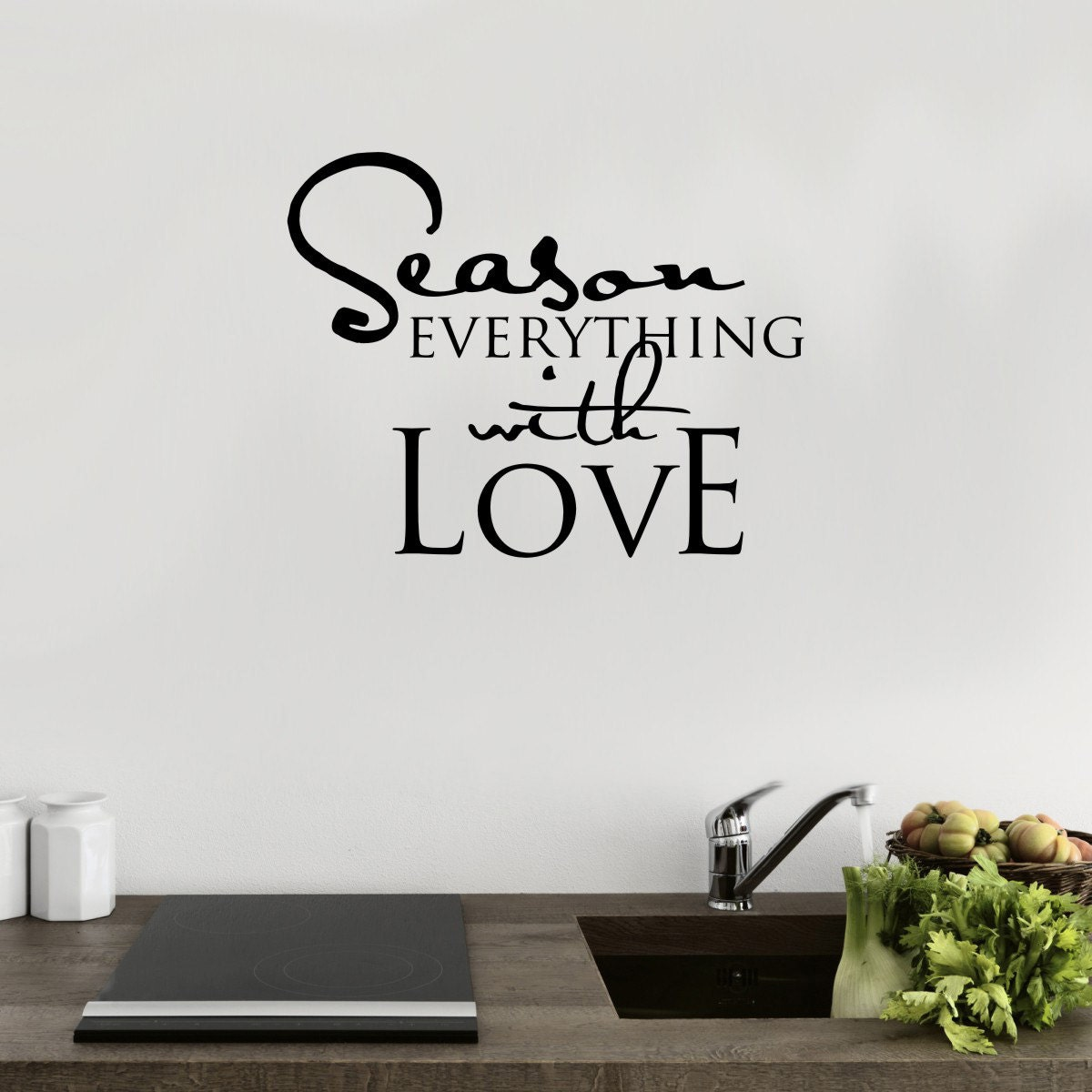 Kitchen Wall Art  Season Everything With Love  Kitchen Wall Decal  Kitchen Decor  Dining Room Decals  Kitchen Quotes  QU100
