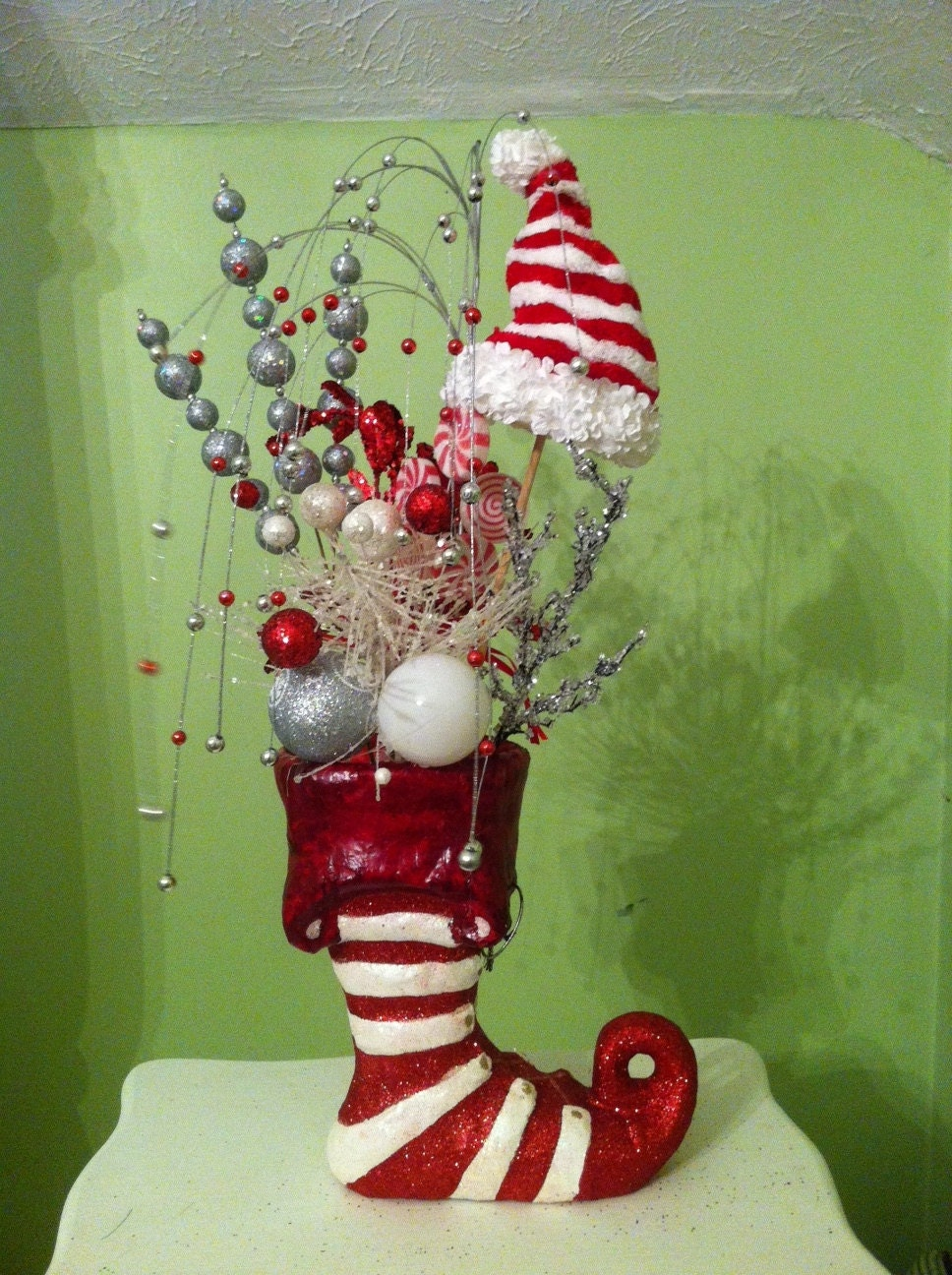 Christmas boot centerpiece by mybippitybopshop on etsy