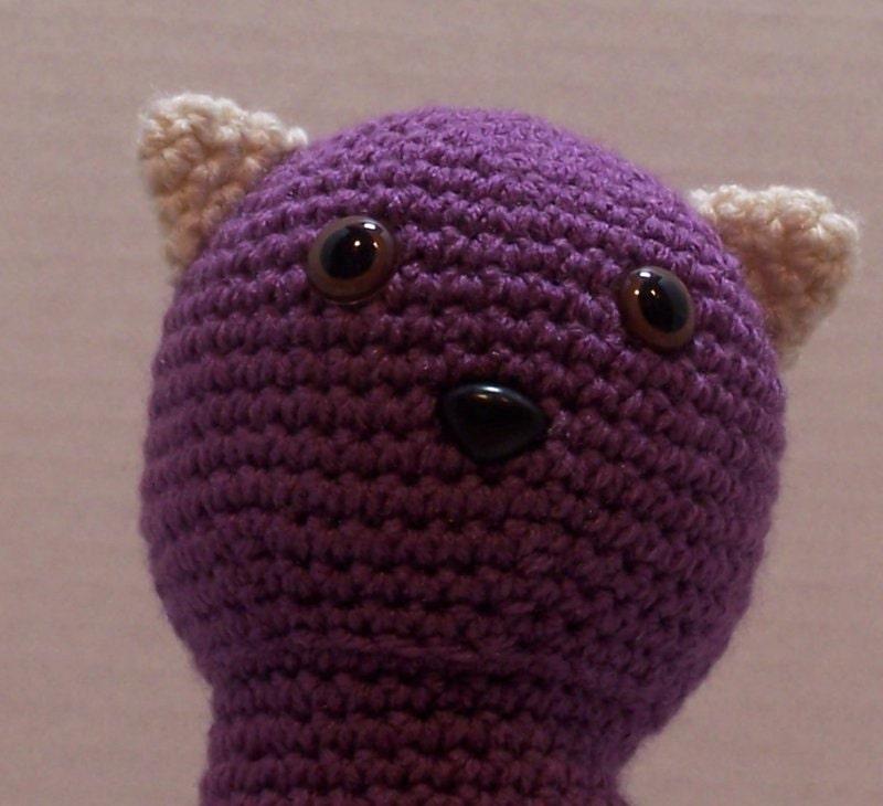 Amigurumi Black Cat Door Stopper : Crochet Lavender cat Door Stop art doll handmade by AdoreStops