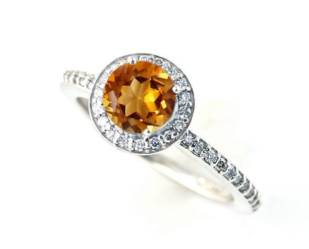 14k citrine ring halo citrine engagement ring by