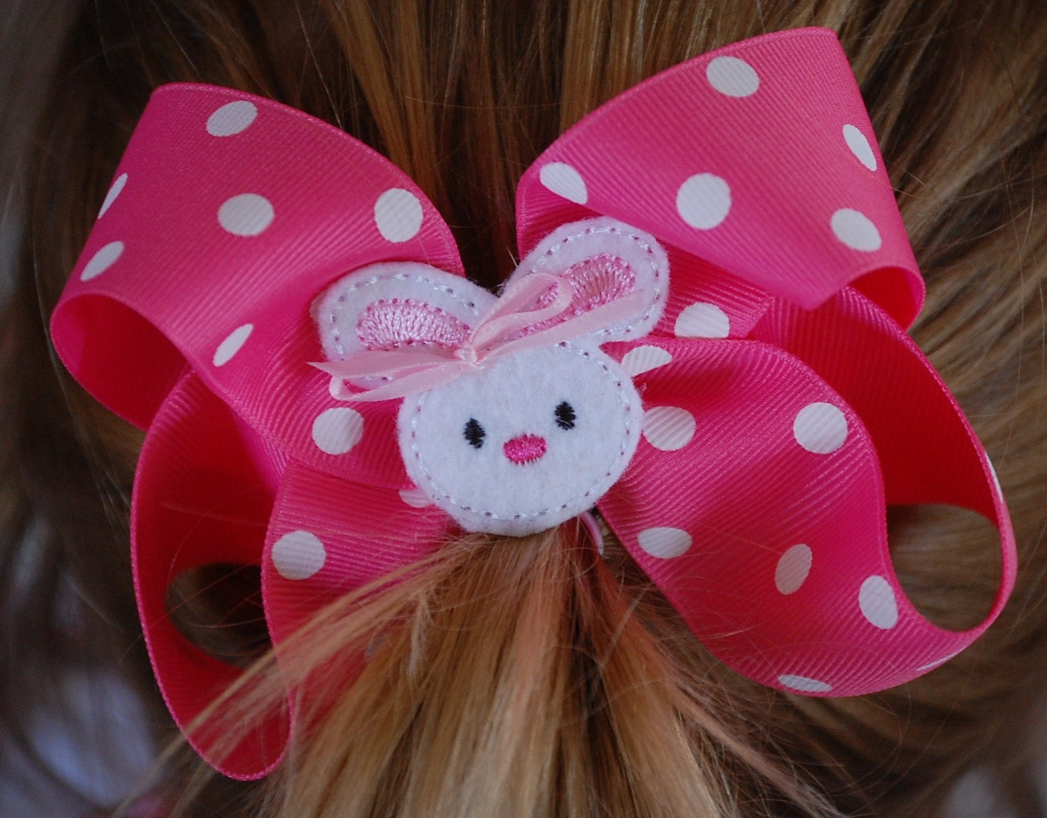 Hot Pink and White Polka Dot Easter Bunny Feltie Bow