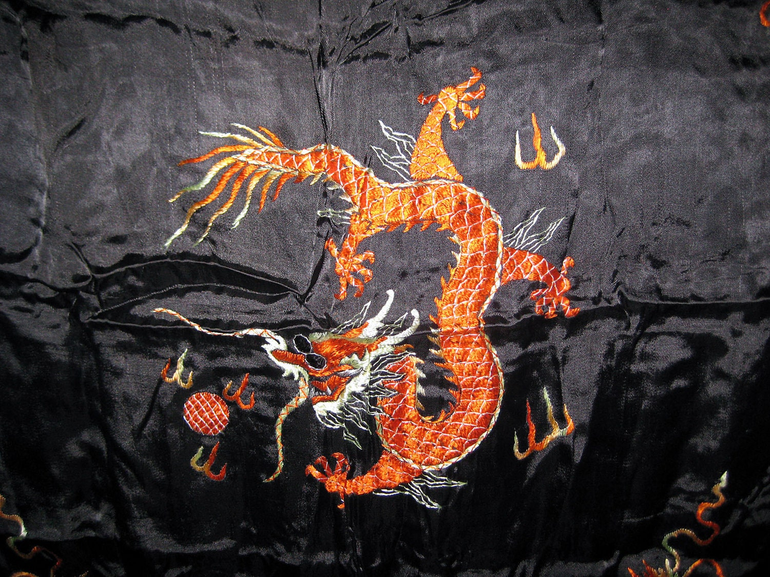 Vintage Oriental Dragon Design Silk Scarf or Linen  coupon item Silk Scarves Oriental Designs
