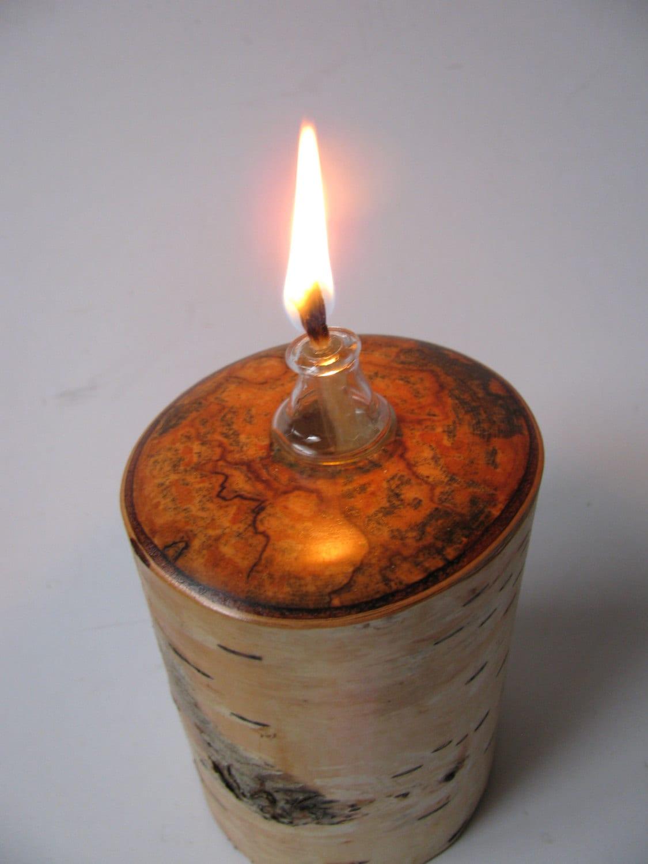 Reserved for elsa p birch wood oil lamp and two by woodacooda for Wooden kerosene lamp holder