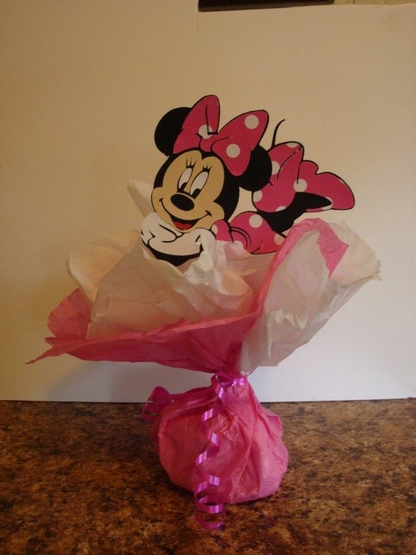 Minnie mouse balloon centerpiece weight image by