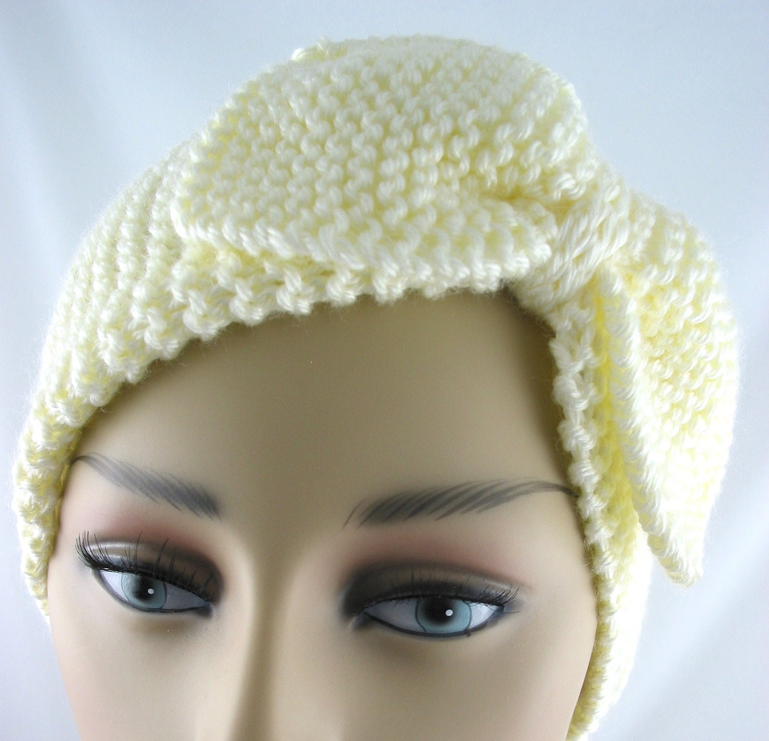 Hand Knit Ear Warmer with Bow Off White by JazzitUpwithDesigns