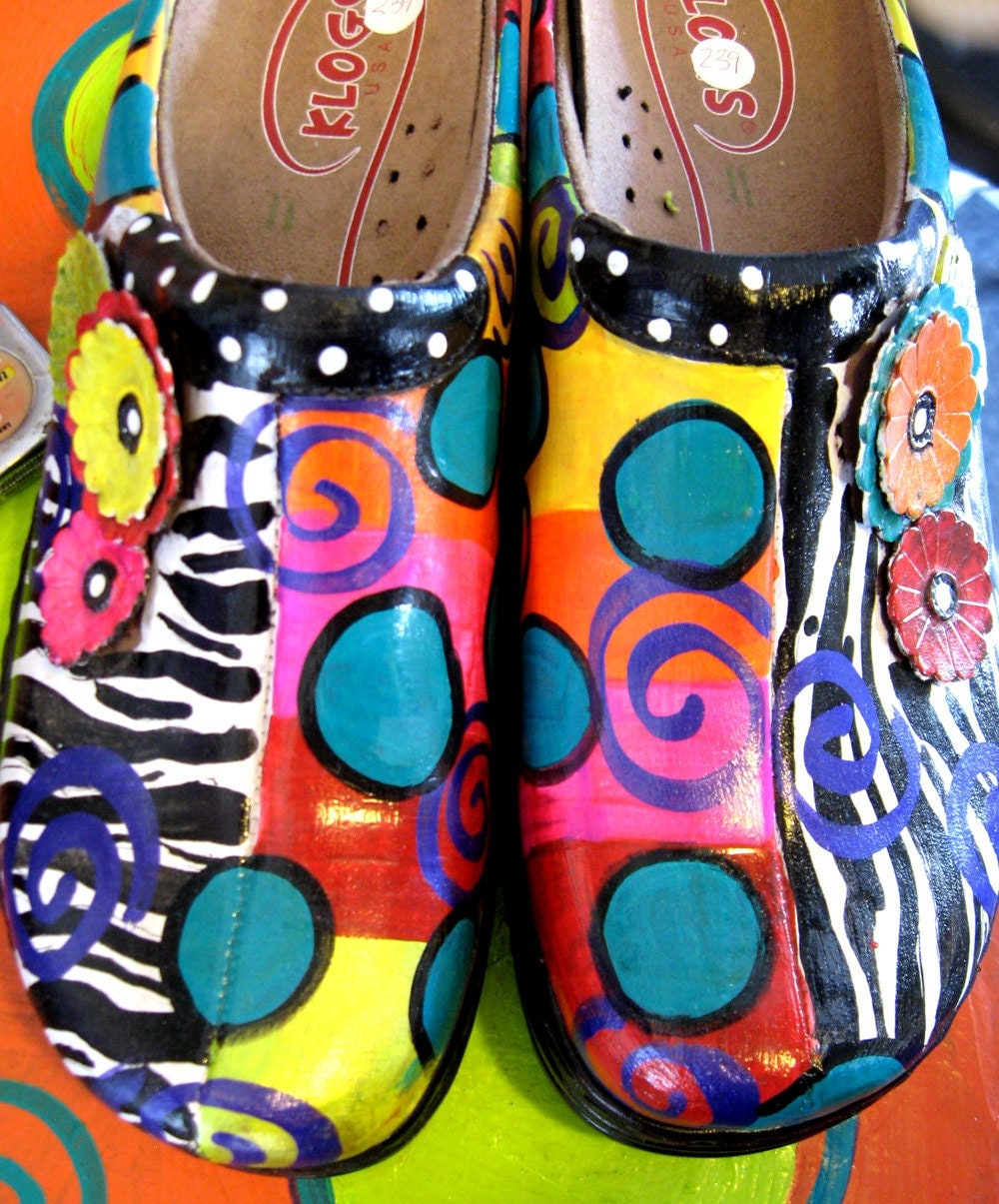 Hand painted leather Klog Shoe size 11