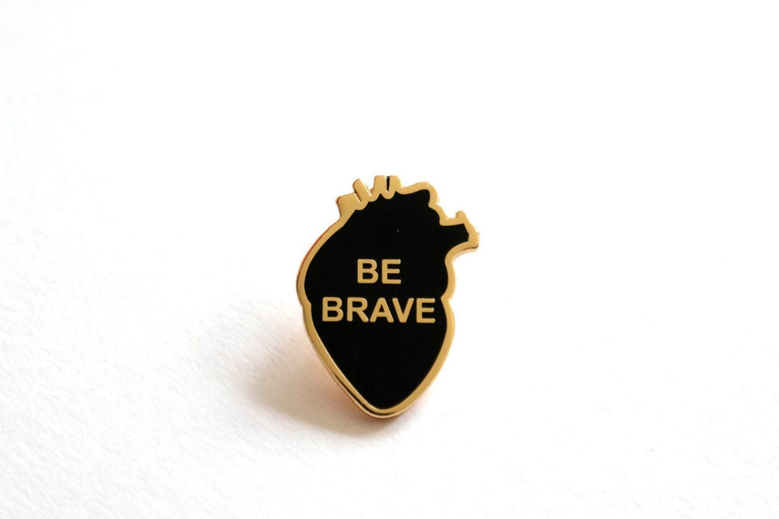 Be Brave Pin Badge Anatomical Heart Pin Badge Enamel Pins Lapel Pin RockCakes