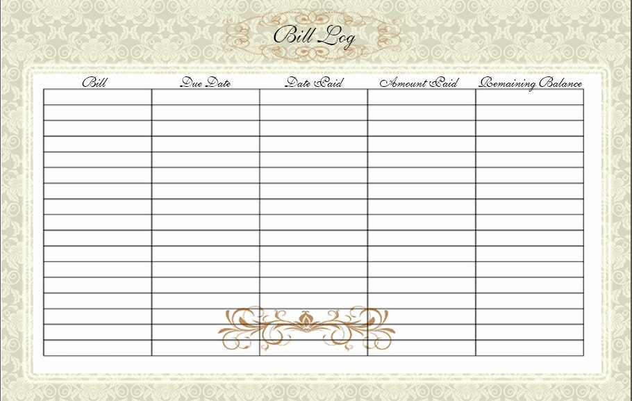 Bill Log / Home Finance / Bill Paym ent / Bill Organizer / Instant ...
