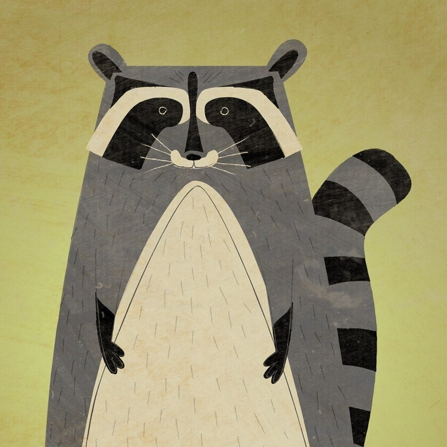 Woodland Creatures - Raccoon Art - The Artful Raccoon Print 8.5 in x 11 in - Kids Room Art - Modern Nursery Art Print - Woodland Nursery Art - johnwgolden