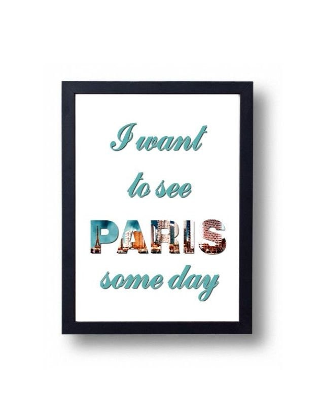 Paris France Typographic Poster Printable Instant Download Travel Poster Typography - WLGraphix