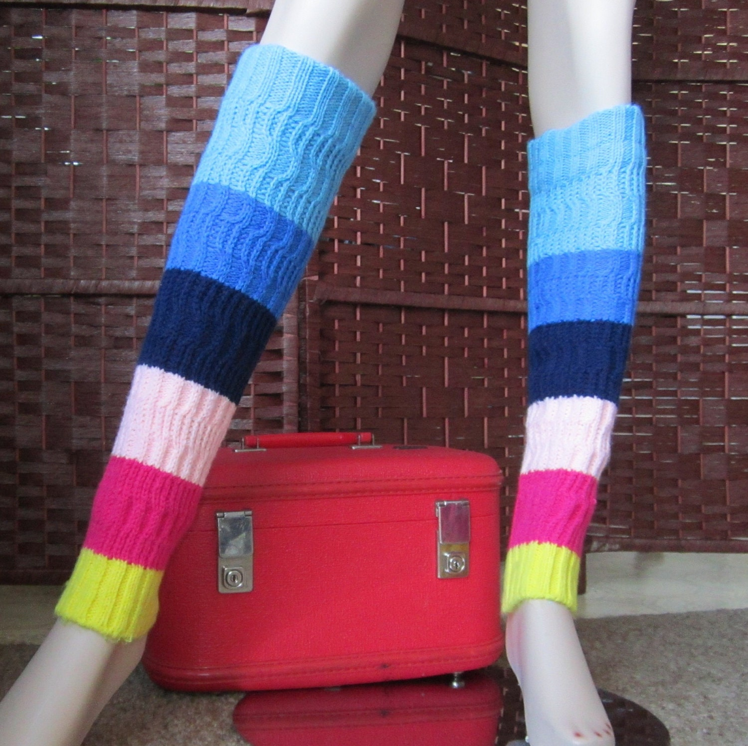 Items Similar To 1980s Rainbow Cable Knit Leg Warmers On Etsy