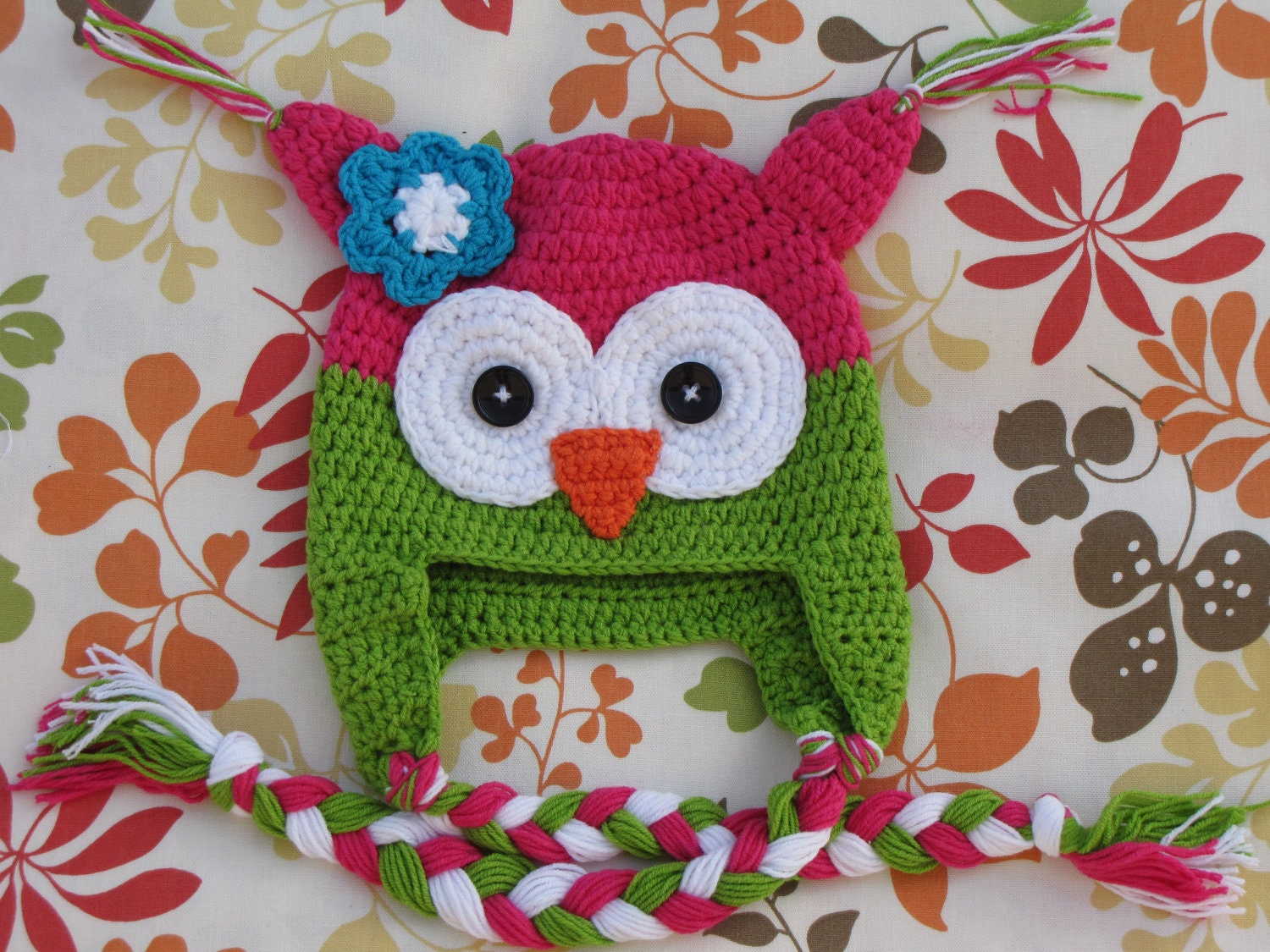 Baby, Toddler, or Child, Girls Pink and Green Crocheted Owl Hat perfect for photos props or a baby gift