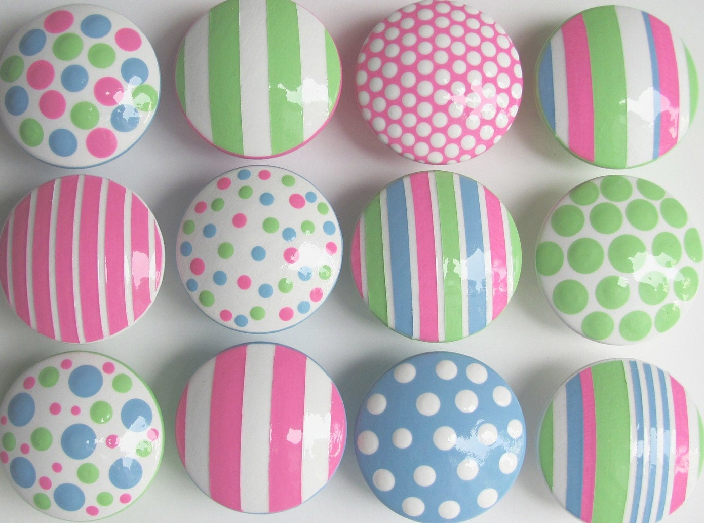 "Hand Painted Children's Knobs- Pink, Blue, Lime Green Polka Dots and Stripes Combination Knobs 1 1/2"" Wooden Drawer Knobs- SET OF 12"