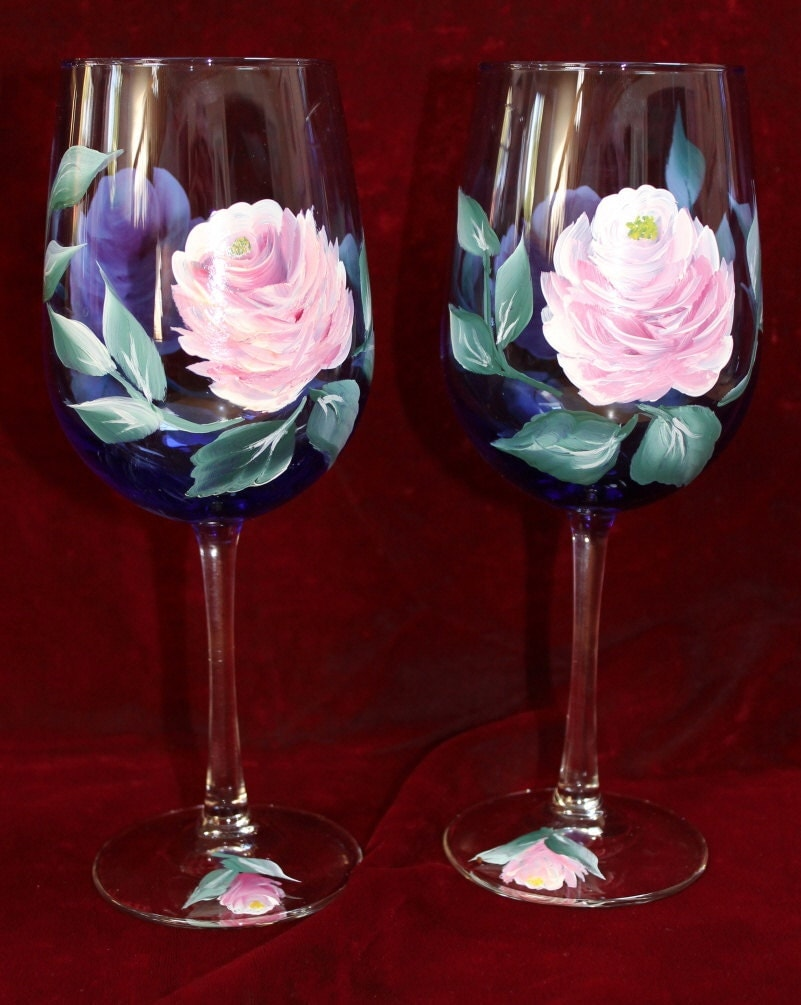 Hand painted wine glasses vintage rose by silkeleganceflorals