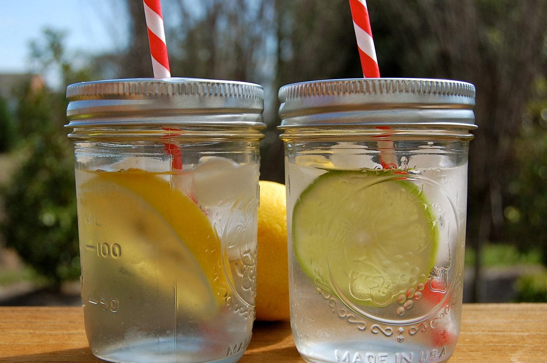 Mason Jar TAMPAS Drink / Pronto para o seu palha / Set de 12