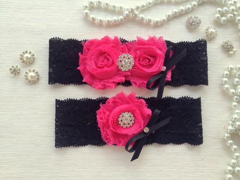 wedding garter set, black and hot pink garter set, black lace garter, hot pink chiffon flowers, rhinestone and black bow