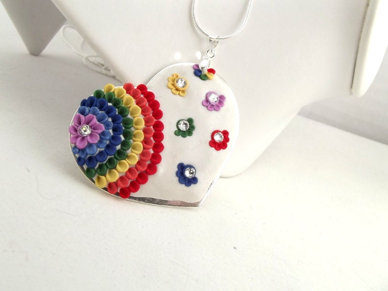 Rainbow Heart Pendant Clay Floral Multicolour  Heart Gift Valentines Day  Heart Gift Ready To Ship Spring Silver  Necklace Under 50 Dollars - TunicBotik