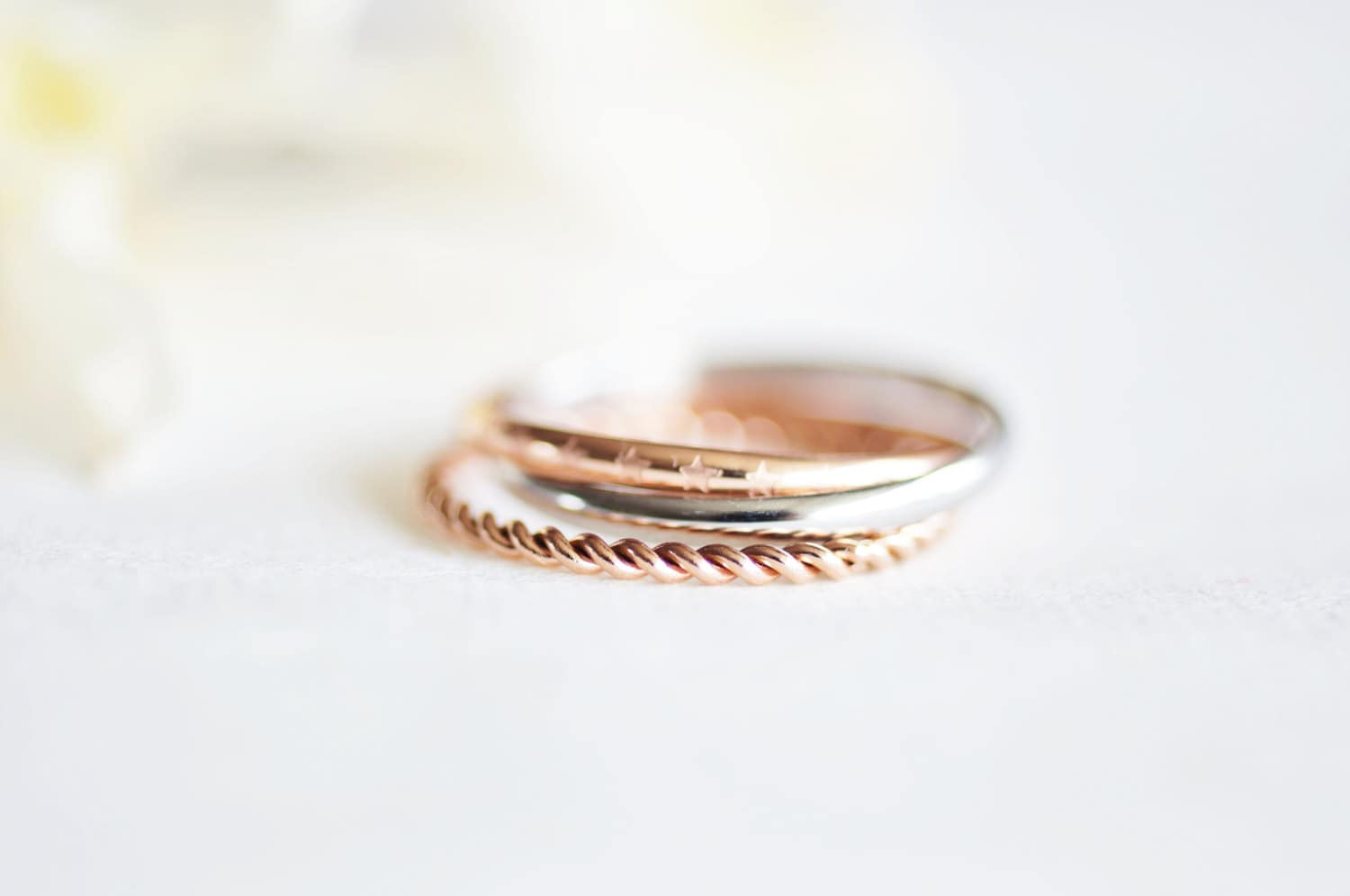star twist set ring - rose gold titanium - RabbitsFantasyWorld
