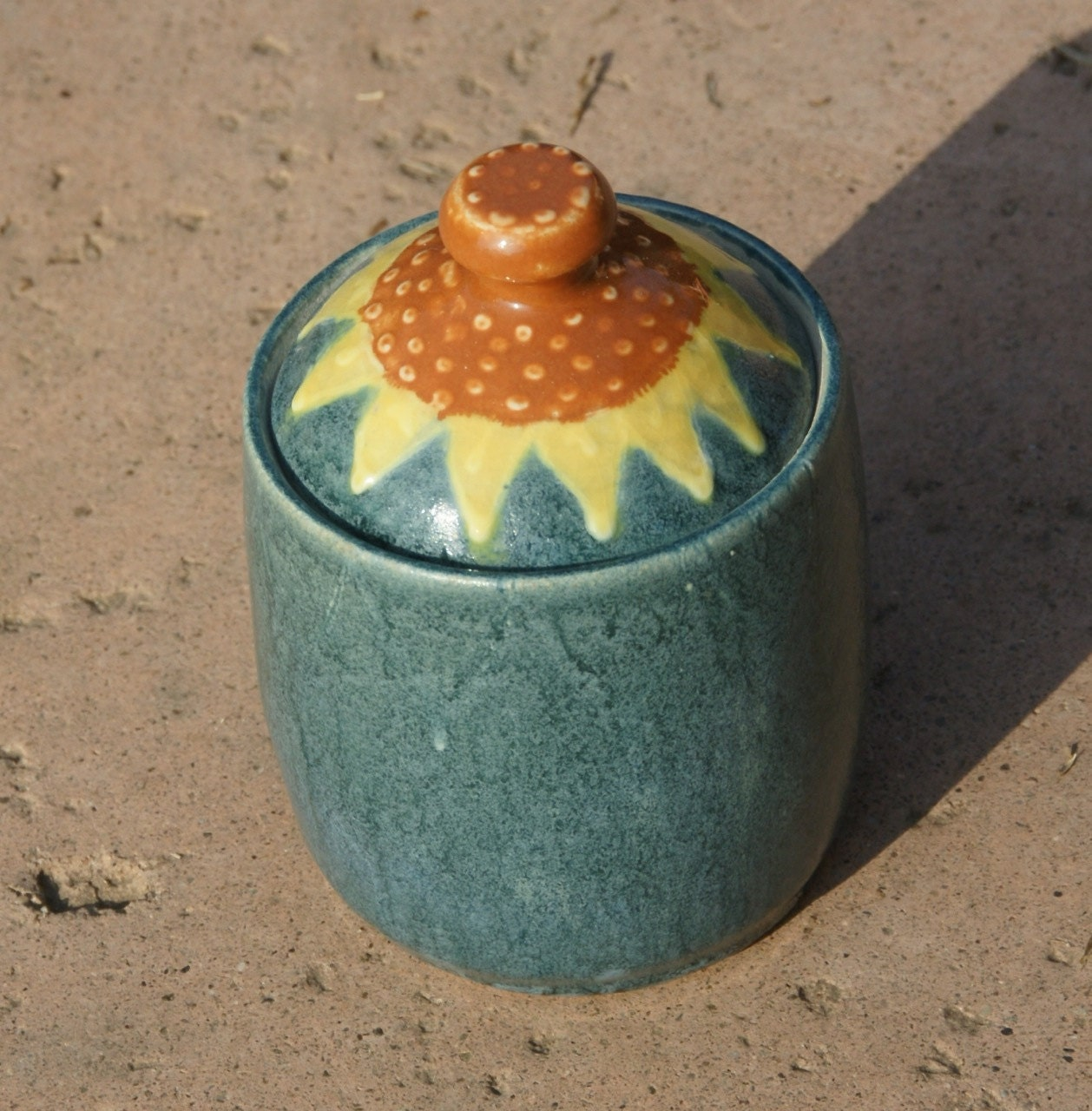 Sunflower Jar - stoneware pottery, hand thrown - muddywaterscc