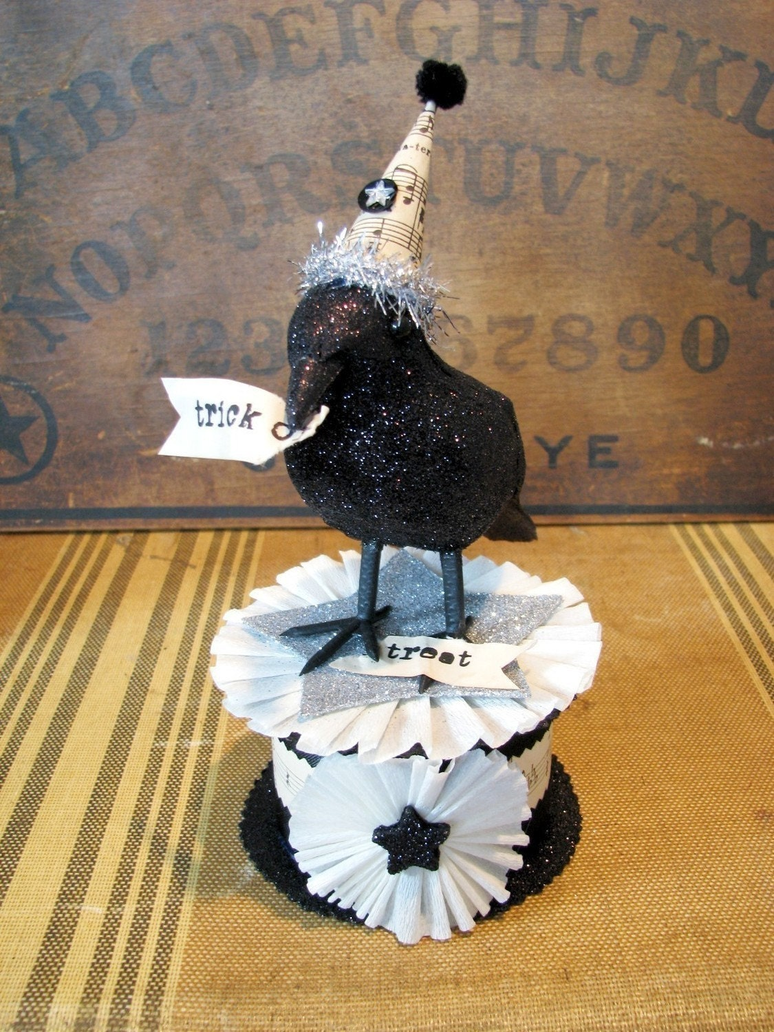 vintage inspired raven crow trick or treat figurine