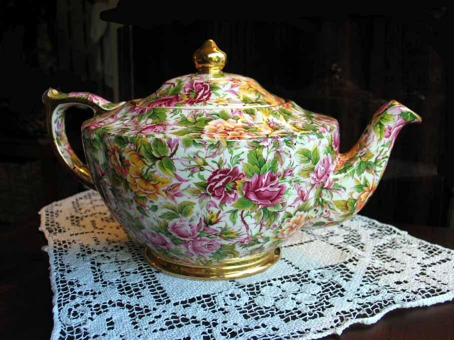 "Royal Albert ""Dimity Rose"" Pattern Teapot"
