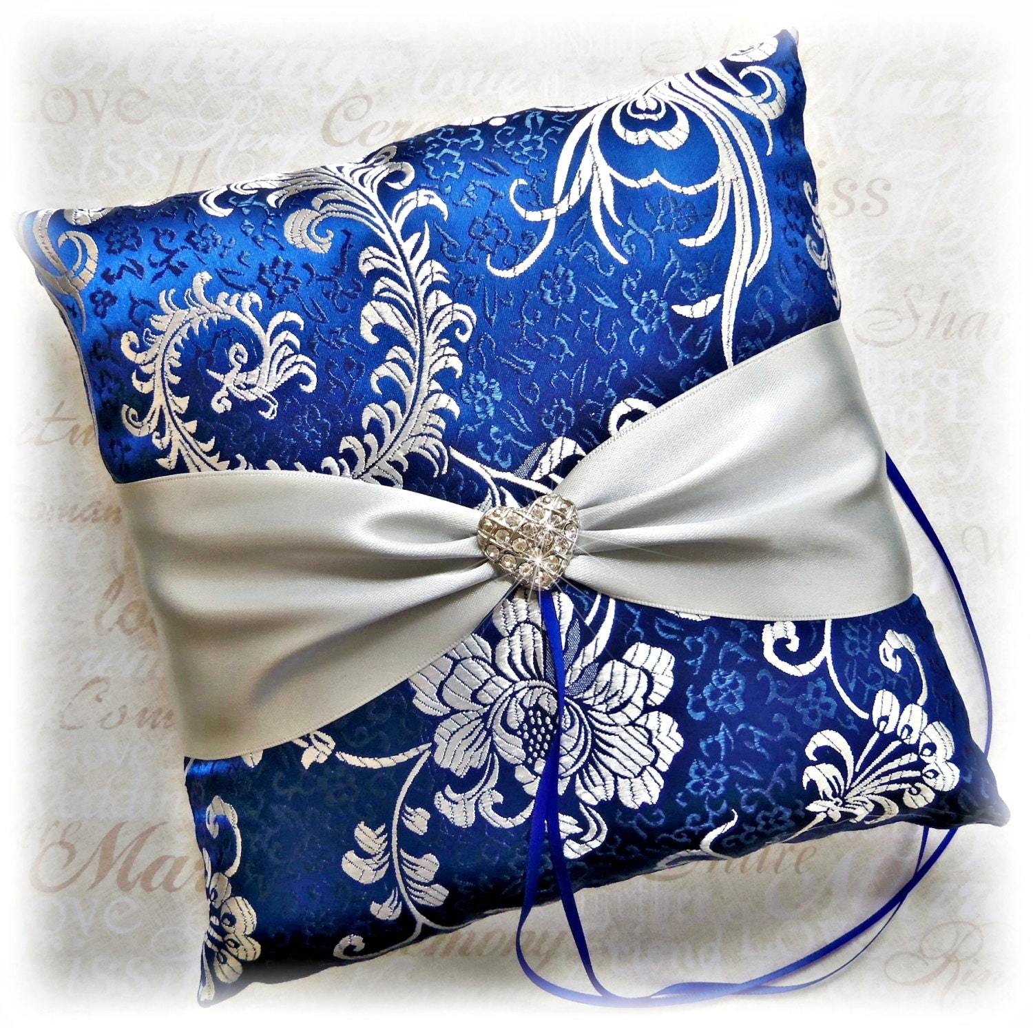 royal blue and silver wedding pillow blue and grey by all4brides. Black Bedroom Furniture Sets. Home Design Ideas