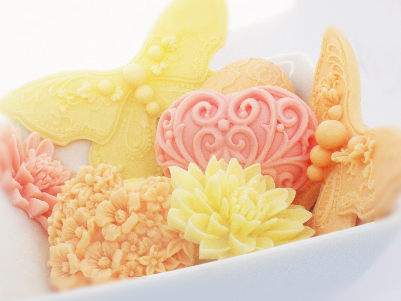 Mother's Day Gift Decorative Soap Hostess Gift Soap Butterfly Soap Heart Soap Vegan Pink, Yellow Gift Set - SakuraBathAndBody