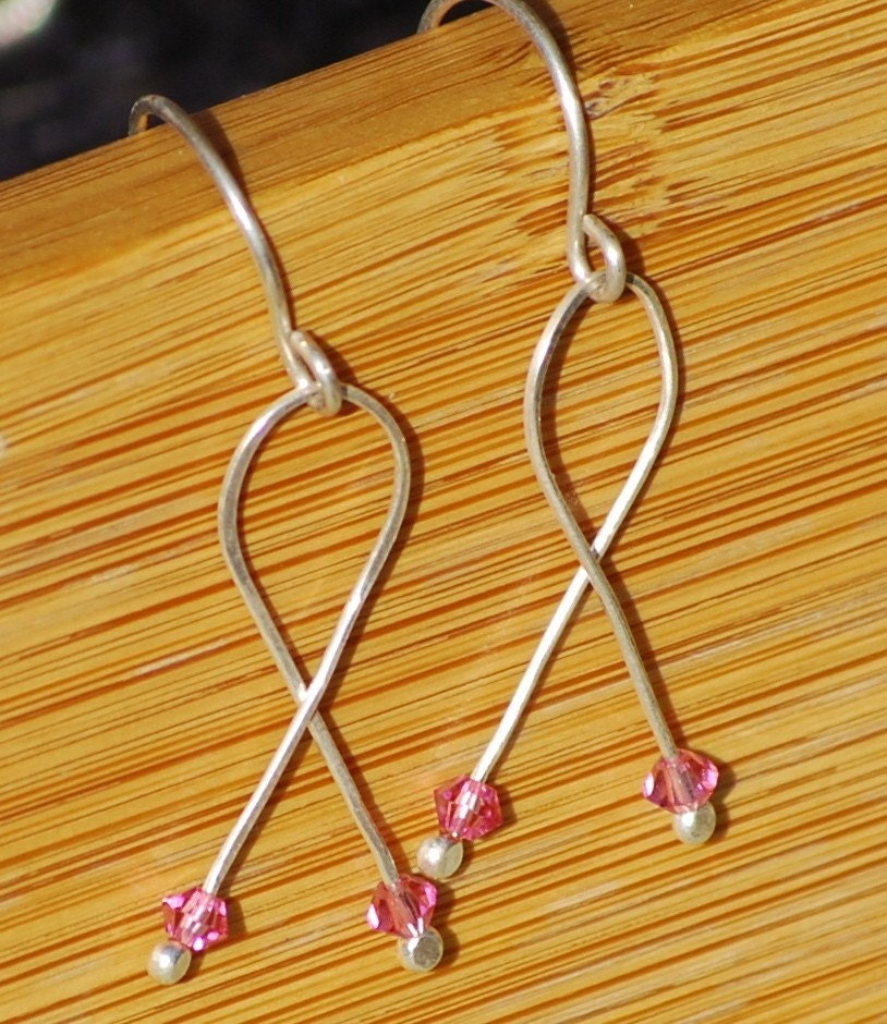 Breast Cancer Awareness Earrings Elegant Pink Ribbon Silver For the Cure