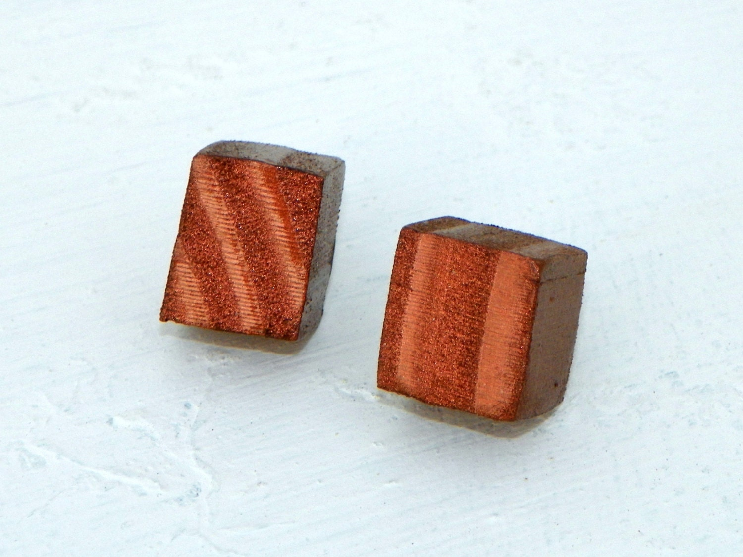 Recycled Wood Copper Cube Earrings Copper Squares - FeathandKee